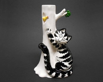 B.Kliban Cat Sigma Tastesetter Candle Holder Candlestick Cat Tree & Bird 1970's