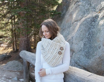 Crochet Pattern - Chunky Button Down Cowl, Neckwarmer With Wood Buttons - The Caribou Cowl