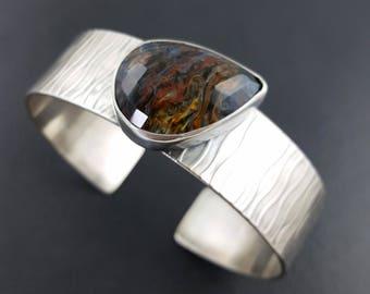 Pietersite Cuff, faceted pietersite, pietersite bracelet, cuff bracelet, sterling silver, blue brown pietersite, michele grady,pietersite