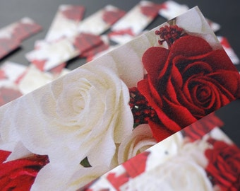 50 Ivory & Red Rose Premium Mini PLACE CARDS Tag, Favor, Gift Label, Holiday, Christmas, December, Valetine's Day, Wedding - Customizable
