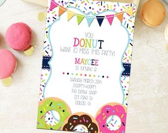 Custom Donut Invitation - Birthday - Baby Shower - Party - Retirement