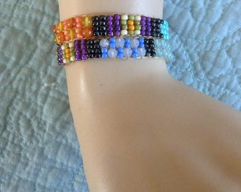 Double Wrap Handwoven Gemstone Bracelet