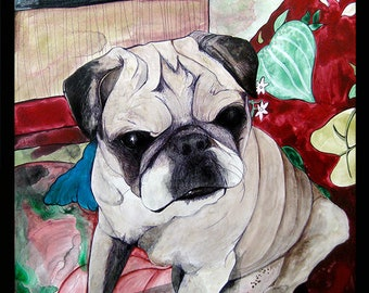 Pug Gift, Pugs, Dog Art Trending Now, Best Selling Art, Top Selling Art, Top Selling Items, Pet Loss Gifts, Custom Pet Portrait, RobiniArt
