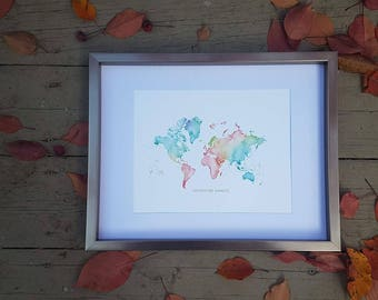 Traveler's Journey Pin Map - Water Color Print