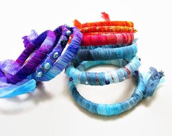 Recycled Sari Silk Bangle, Colorful Sari Bangle, Boho  Bangle, Recycled Fabric Bracelet, Silk Bracelet, Beaded Bangle, Gypsy Bangle