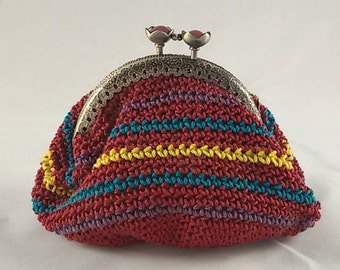 Crochet coin purse, vintage style coin pouch with metal closure, red with yellow, green and violet stripes