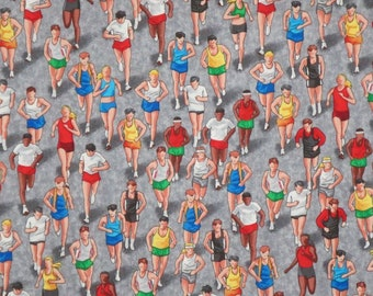 3 REMNANTS--Colorful Marathon Runners Print Pure Cotton Fabric--2 YardS TOTAL
