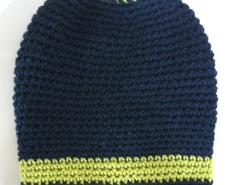 Hand Crocheted Classic East Village Slouch Hat — Navy / Chartreuse — Yarn Source: Turkey & Italy