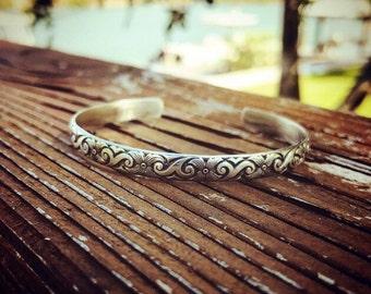 Sterling silver engraved cuff bracelet