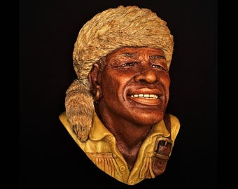 Vintage Bossons, England Chalkware Head, York the Explorer with Coon Skin Cap , ca. 1988