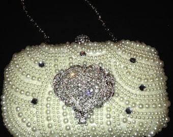 Pearl Vintage Style Evening Clutch Bag,  Wedding Clutch, Heart Clutch Bag