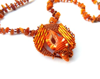 Call of the Sea necklace - seashell & leather pendant on amber chain - orange bright beach native style - beadwork - unique handmade jewelry
