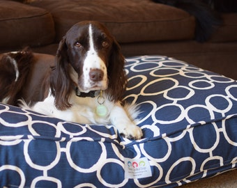 Dog Bed, Cat Bed, Dog Pillow, Dog Furniture, Personalized Dog Bed Cover, Washable Pet Bed, Geometric Classic Trellis Fabric, Puppy Gift