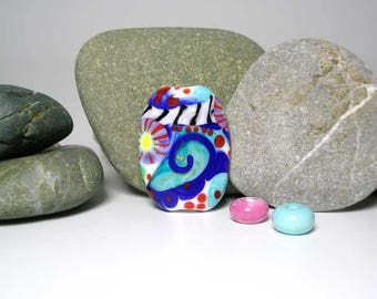 lampwork focal bead art glass bead Indigosoda venetian glass pendant necklace one of a kind ooak SRA * Art Abstrait * (1)
