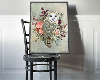 Owl Print, Owl Decor, Owl Art, Bohemian Owl, Owl Nursery Art, Boho Wall Decor, Wall Art, Art Prints to Frame, Poster Art, Nature Art