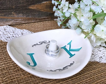 Monogrammed Wedding Ring Holder - Ring Dish w/ Double Monogram - Personalized Ring Dish Wedding Gift for Couple