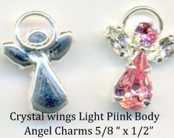Angel Swarovski Crystal -pink body and clear wings - Quanity 2