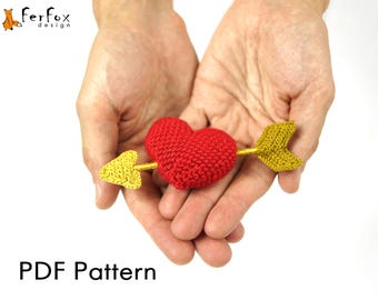 Heart with arrow crochet pattern Valentine amigurumi pattern DIY Valentine decor Heart PDF pattern Valentines day DIY Crochet heart tutorial