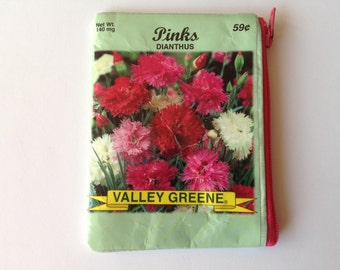 Seed Packet Change Wallet -Upcycled Pinks Dianthus Seed Packet Coin Purse