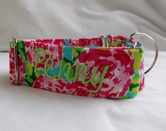 Martingale Dog Collar-Hot Pink Floral-Lime Green-Martingale Collar- Personalized- Embroidered