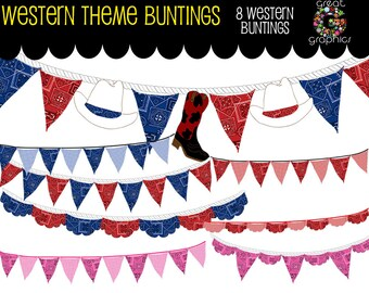 Cowboy Bunting Digital Clip Art Bunting Bunting Clipart Bunting Flag Pink Cowgirl Bandana Western Party - Instant Download