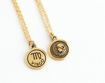 Gift For Women - Virgo Necklace - Personalized Zodiac Necklace - Custom Zodiac Jewelry -  Astrology Pendant - Gift For Daughter