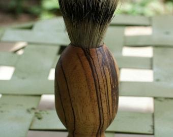 shaving brush, silvertip badger hair, zebrawood