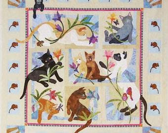 Java House Quilts Cat Acatemy 8-Pattern BOM Applique Quilt Pattern Set