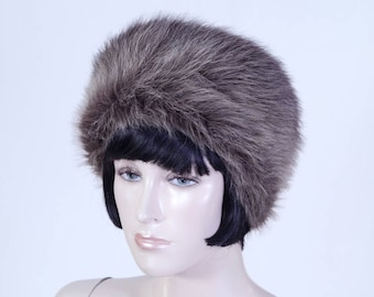 Vintage 1980s Women's Brown Faux Fur Hat - Pillbox Style - Fun Fur Hat - Winter Hat