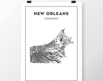 FREE SHIPPING to the U.S!! New Orleans Map Print