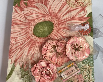 Gorgeous Peach/Pink Sunflower Vintage Themed Journal-3 Signatures - Full of goodies!!