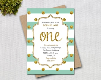 Mint Green and Gold First Birthday Invitation, Mint and Gold Glitter ONE Printable Digital Invitation, 1210