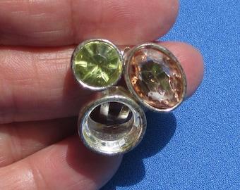 Retro Multi Colored Acrylic Rhinestone Adjustable Ring Missing Stone TLC
