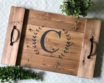 Personalized Serving Tray, Wood Serving Tray, Wooden Serving Tray, Personalized Wedding Gift, Decorative Tray, Monogram Serving Tray