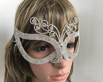Masks, Rhinestone Mask, Mardi Gras Mask, Crystal Mask, Fantasy Mask, Halloween Mask, Costume, Masquerade Mask, Cosplay Mask