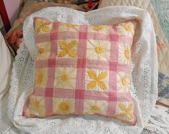 """GOLD CELESTIAL Pillow Sun Moon Stars on Rose Plaid Cotton, Antique Embroidery 1890 Quilt Block White Eyelet Trim, Hammock Porch 16"""" Upcycled"""