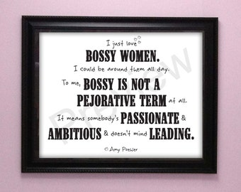 Bossy Women Quote Amy Poehler Feminist Art Digital Print Instant Download