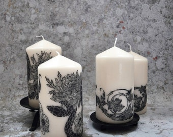 Illustrated Lino Cut Decorative Candle, Alternative Homeware Candle