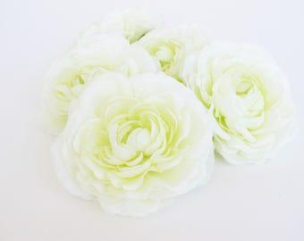 "Silk Flowers 22 Ranunculus Flowers Heads White Cream Artificial Silk Flowers 3.3"" Floral Hair Accessories Flower Supplies DIY Wedding"