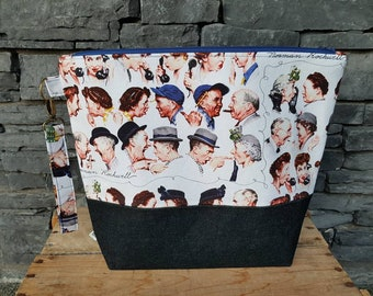 Project Bag | Knitting Bag | Project Bag | Zippered Project Bag | Wedge Bag | Shawl Sweater Knitting Bag | The Gossips Norman Rockwell