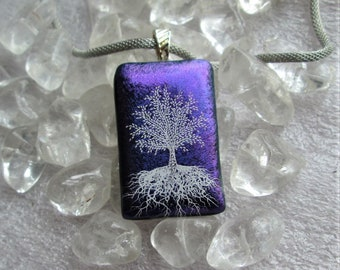 White Tree of Life  Stunning Purple Dichroic Glass Pendant - Silver Mesh Cord included - Silver Bail