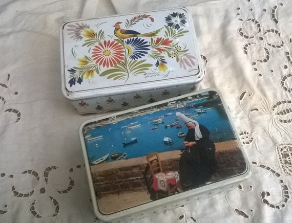 2 Vintage French Tin Boxes Brittany Folk French Cookies  Henriot Quimper and Folk Bigoudaine Costumes Clothing Lady #SophieLadyDeParis