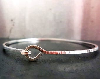 Knotted Bangle Bracelet, Silver Stacking Bangle, Silver Bracelets, Bangle Bracelet, Textured Bracelet, Handmade Bracelets,