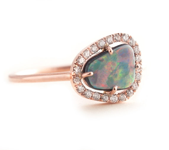 Opal Ring Gold Opal Ring Black Opal Rose Gold Ring Pave