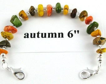 Autumn turquoise nugget medical alert or watchband 6 inches