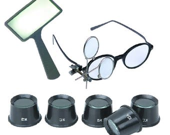 7PC Tool Kit Jewelers Tools Set repairs hobbies craft painting reading magnifying glass magnifier tools kits indoor outdoor home shop garage