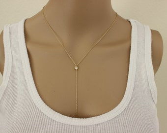 Silver available, CZ diamond lariat necklace, simple lariat, silver lariat necklace, delicate gold necklace, thin gold necklace, y necklace.