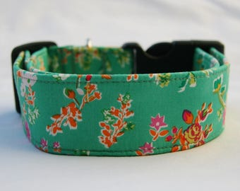 Bouquet on Green Adjustable Dog- Pet Collar- Pet Accessories- Supplies Dog Collar- Small to Large Breed Dog- Wide 1.5 inch 2 inch