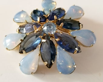 Vintage Blue Rhinestone and Faux Opal Juliana DeLizza and Elster Brooch