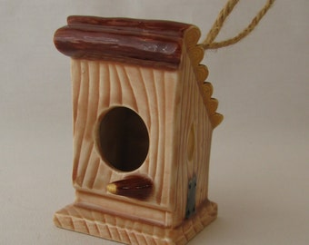 Birdhouse with Log Roof Ceramic Ornament